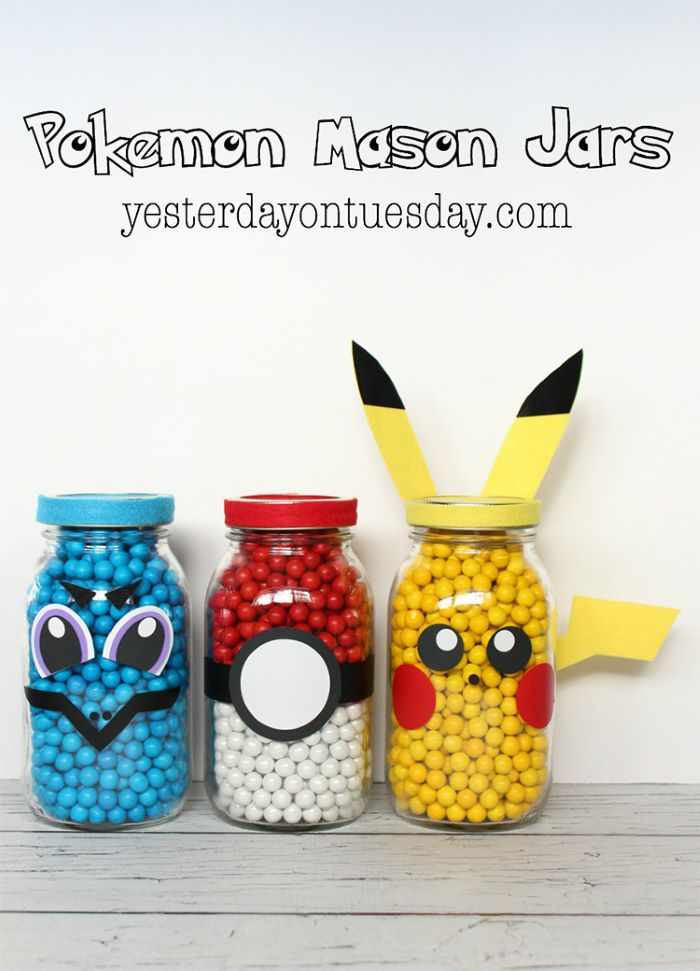 Pokemon design mason jars
