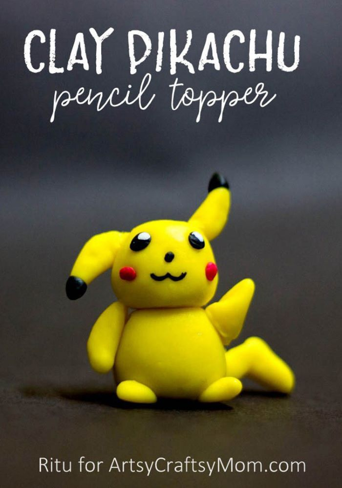 Clay pikachu design pencil topper