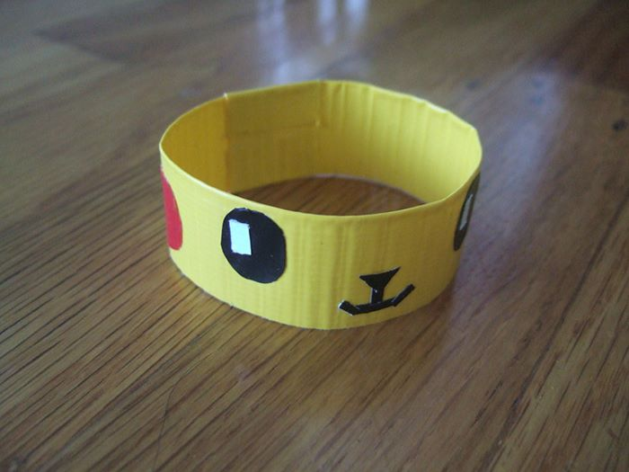 Pikachu design duct tape bracelet