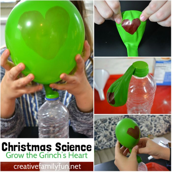 Grow grinch heart science experiment