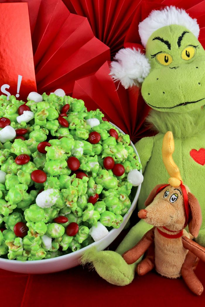 Grinch themed popcorn snack
