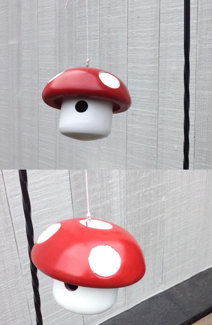 Super mario mushroom design birdhouse