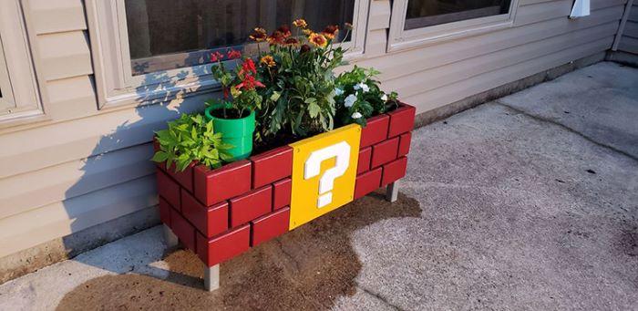 Super mario themed planter box