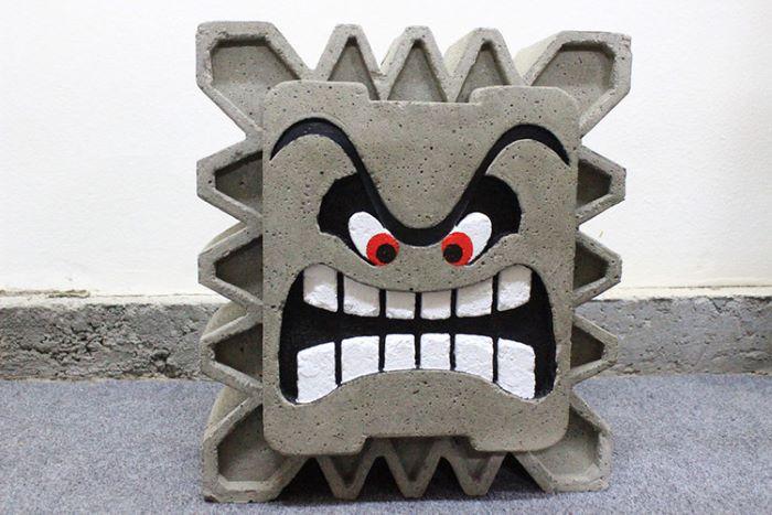 Super mario thwomp design concrete
