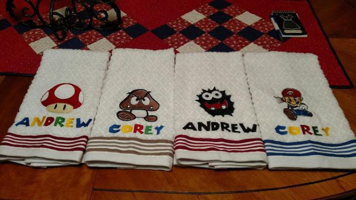 Super mario themed hand towels