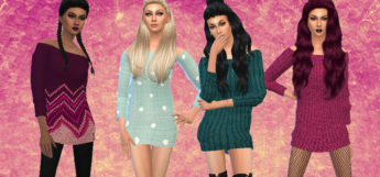 Custom Content Sweater Dresses - Cute patterns for Sims 4