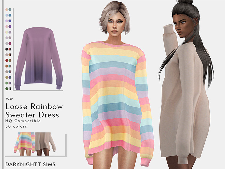 Loose-fitting sweater dress outfit - Sims 4 CC