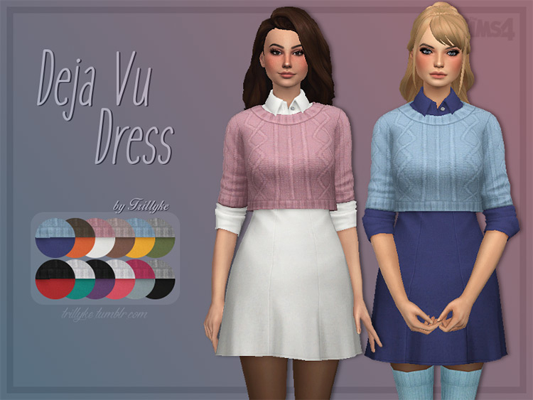 Preppy schoolgirl sweater dress look - Sims 4 CC