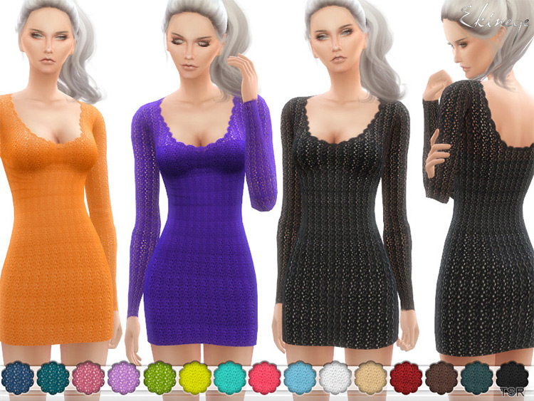 Multicolor crochet sweater dress outfit - Sims 4 CC
