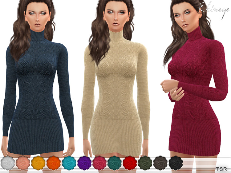 Custom turtleneck long sweater dress CC - The Sims 4