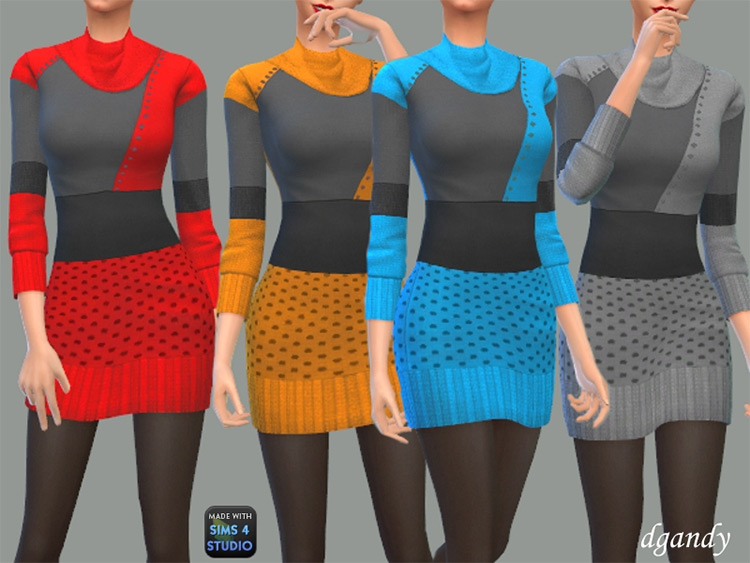 Cowl neck sweater dress Sims4 CC