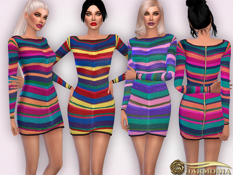 Rainbow striped sweater dresses for girls - Sims 4 CC
