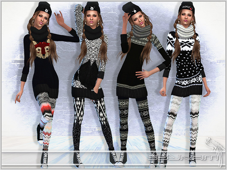 Winter knit sweater dress outfits - Sims 4 CC