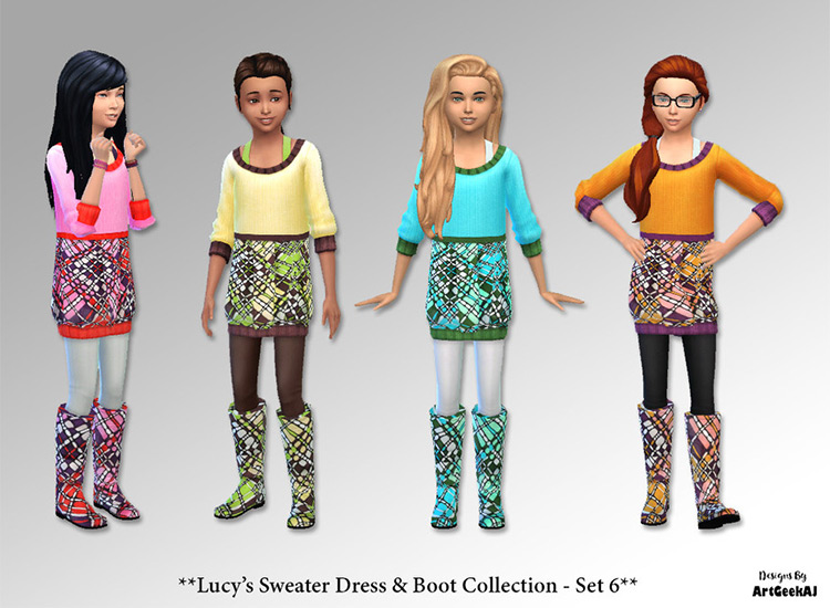 Childrens Sweater Dresses - Custom Content for Sims 4