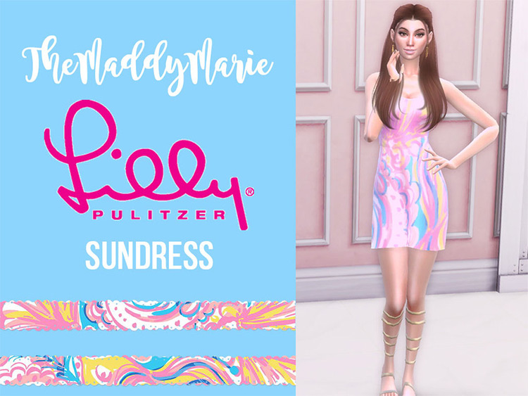 Funky patterned Lilly Pulitzer-style Sims4 CC Sundress
