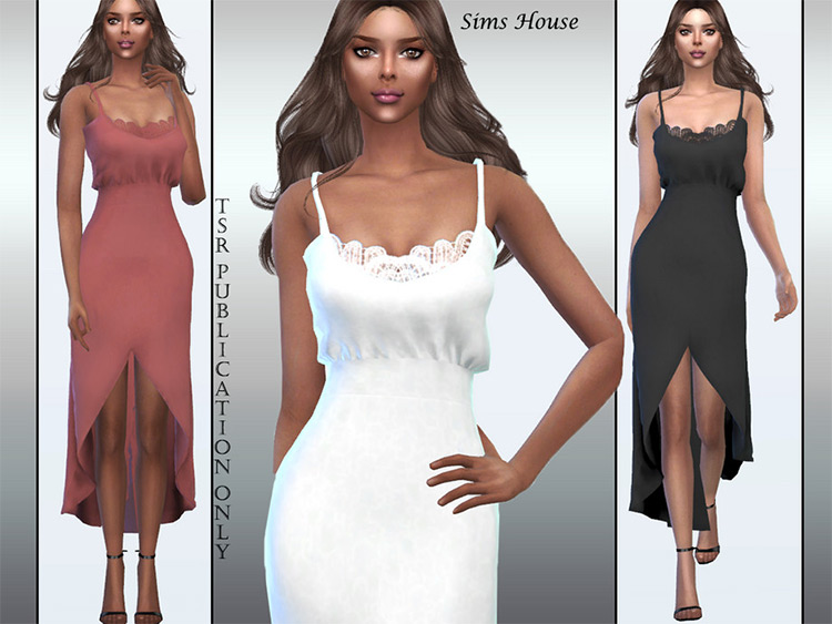 Sleek lace neck light sundress - Sims 4 CC