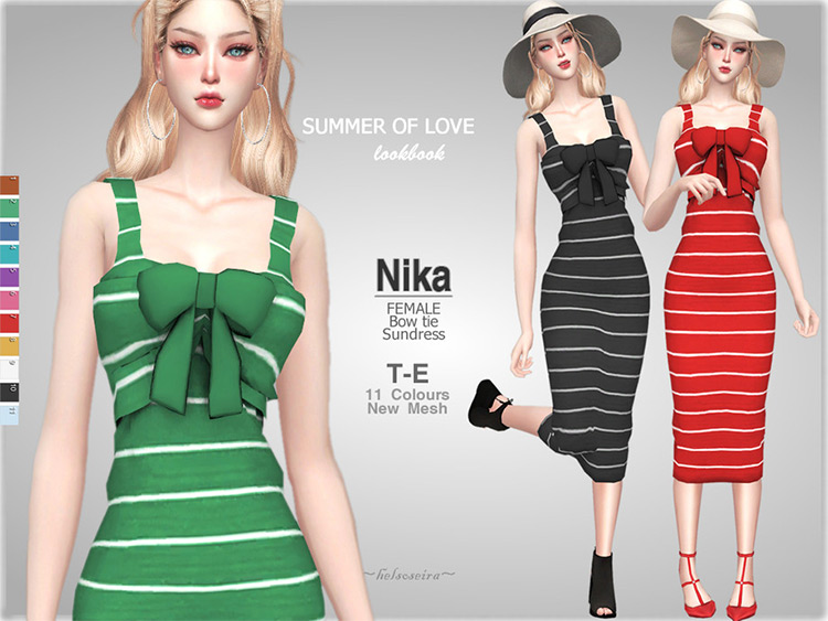 Colorful white striped sundresses - Sims 4 CC