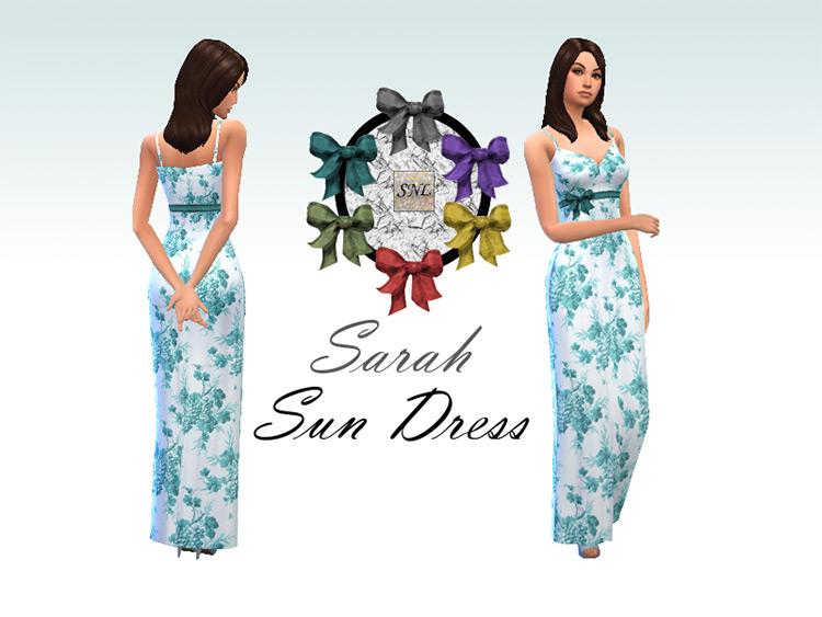 Blue Flowers pattern on long sundress - Sims 4 CC