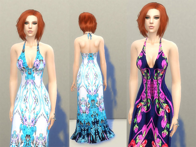 Patterned Colorful floral-style long sundress - Sims 4 CC