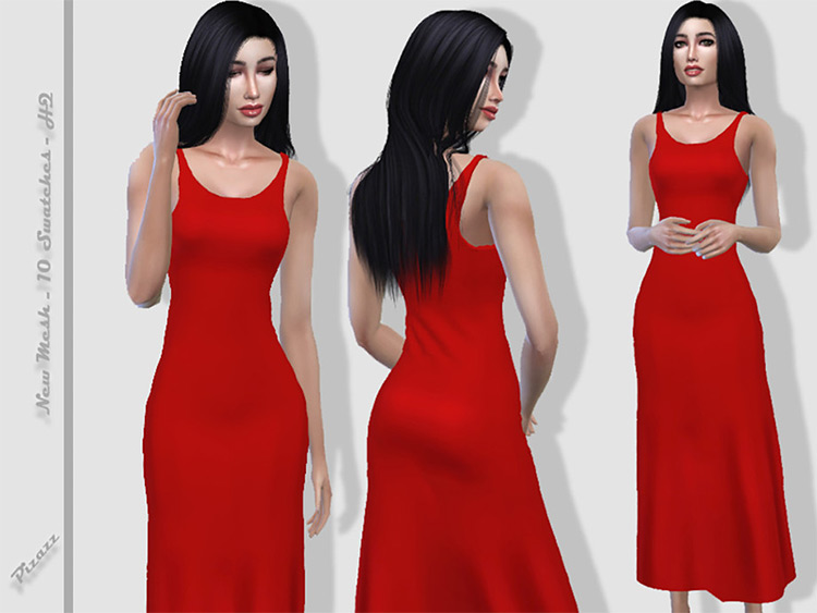 Simple long flowing red sundress - Sims 4 CC