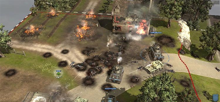 Battle screenshot in Company of Heroes