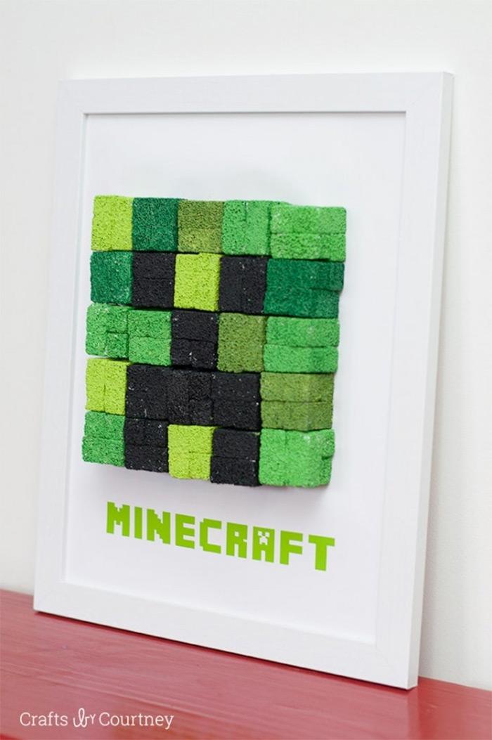 Easy minecraft diy wall art