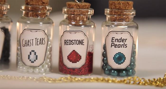 DIY minecraft themed vials
