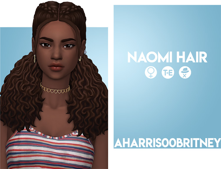 Naomi curly style hair CC - The Sims 4