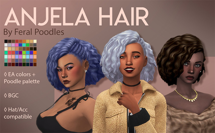 Anjela Hair from the Sims 4 CC