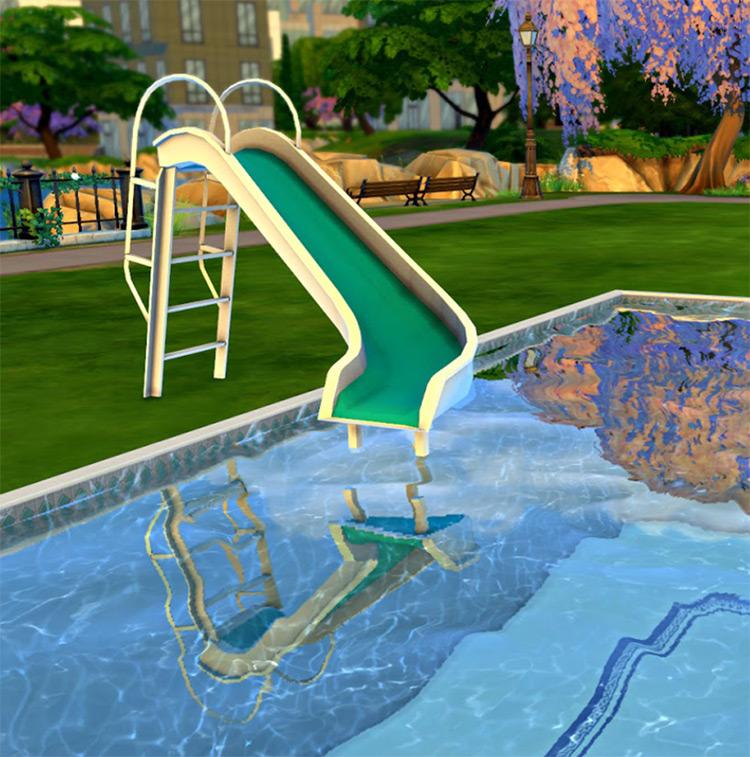 White & Teal Pool Slide CC - Sims 4