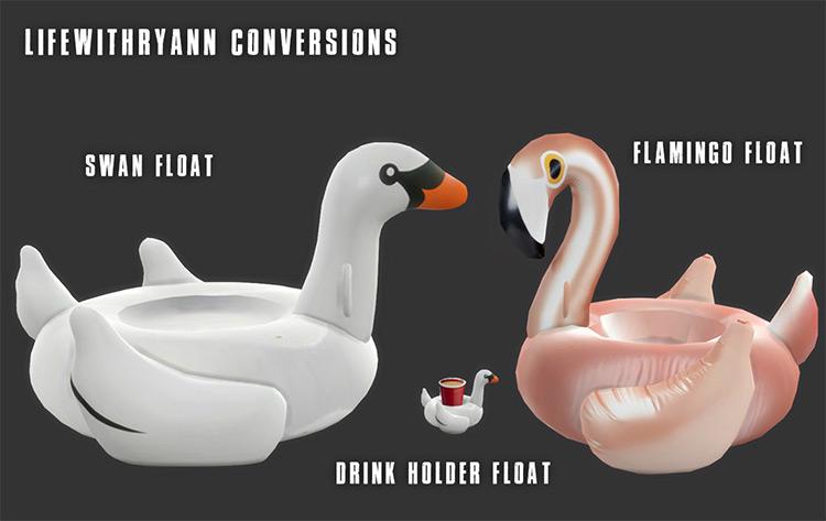 Flamingo & Swan Floaty Sims 4 CC
