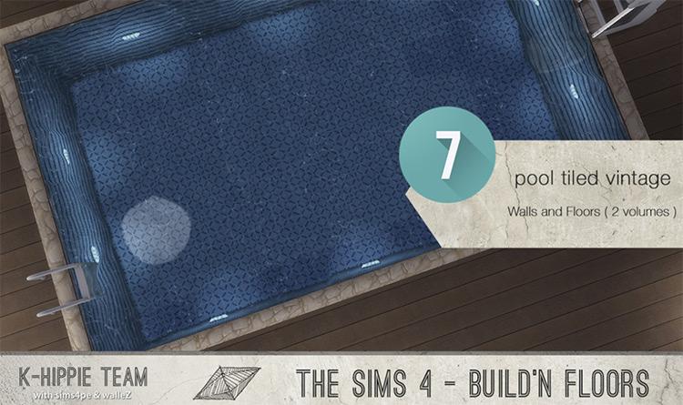 Vintage Pool Tile Set - Sims 4 CC