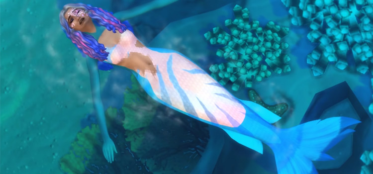 Girl mermaid floating in the ocean TS4 screenshot