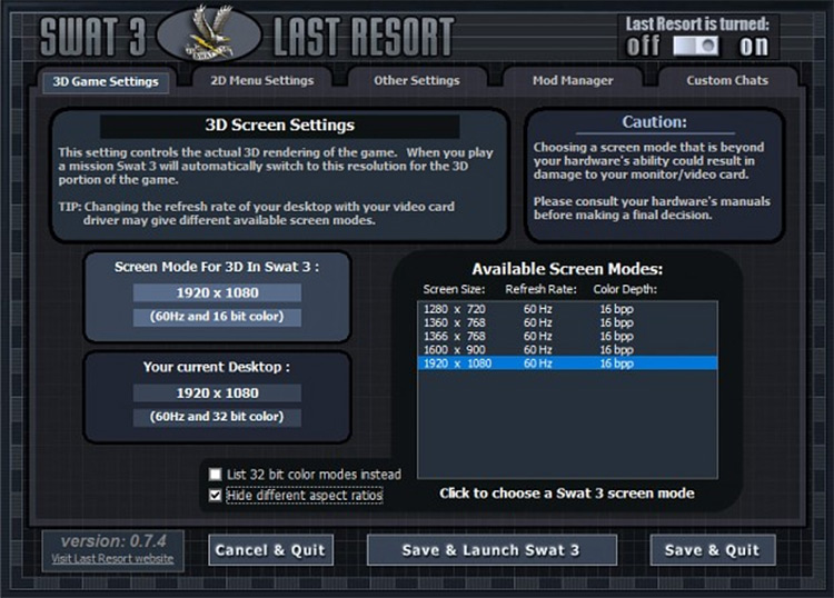 Last Resort SWAT 3 1080p mod