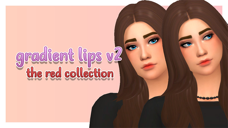 Gradient Lips V2 CC - The Red Collection - Sims 4