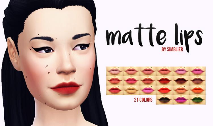 Matte Sims 4 lipstick CC
