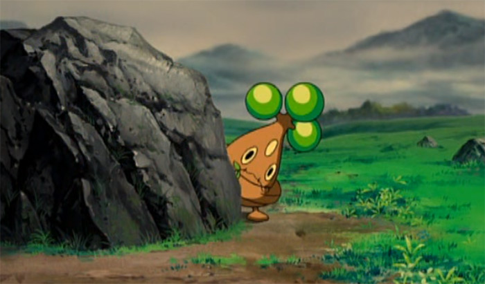 Bonsly hiding behind rock