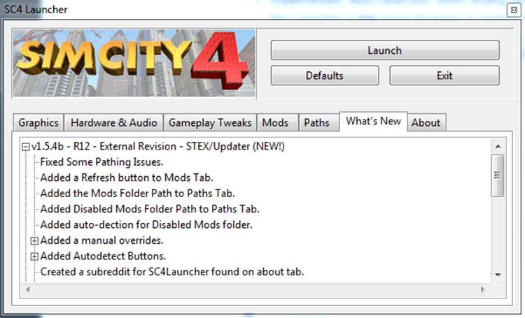 SC4 Launcher - SimCity4 mod
