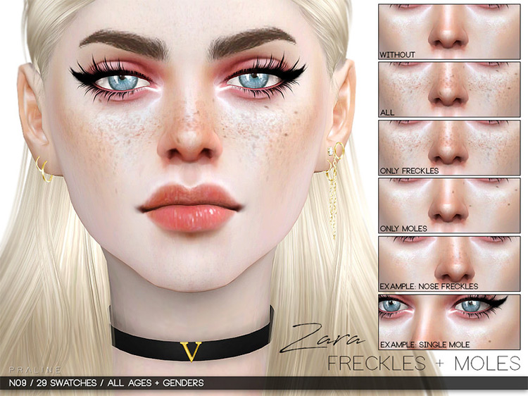 Zara Freckles mod for Sims 4