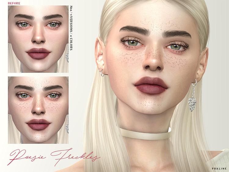 Poesie Freckles mod for Sims 4