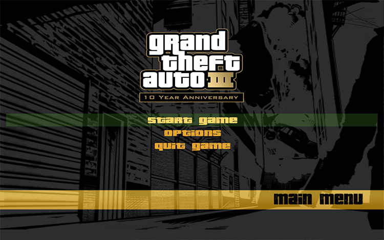 10th Anniversary Menu Grand Theft Auto III mod