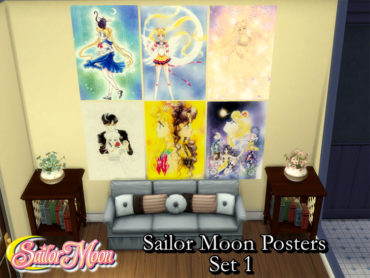 Sailor Moon Posters Set - Sims 4 CC
