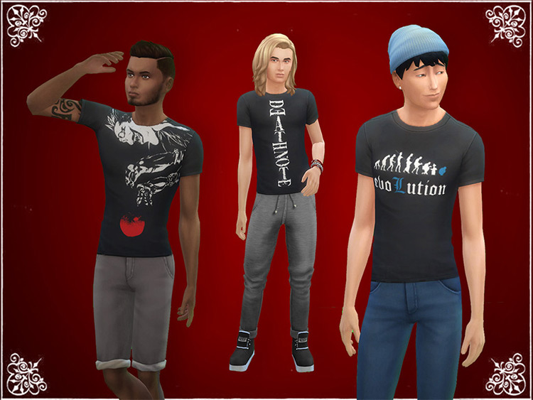 Death Note T-Shirts - Sims 4 CC