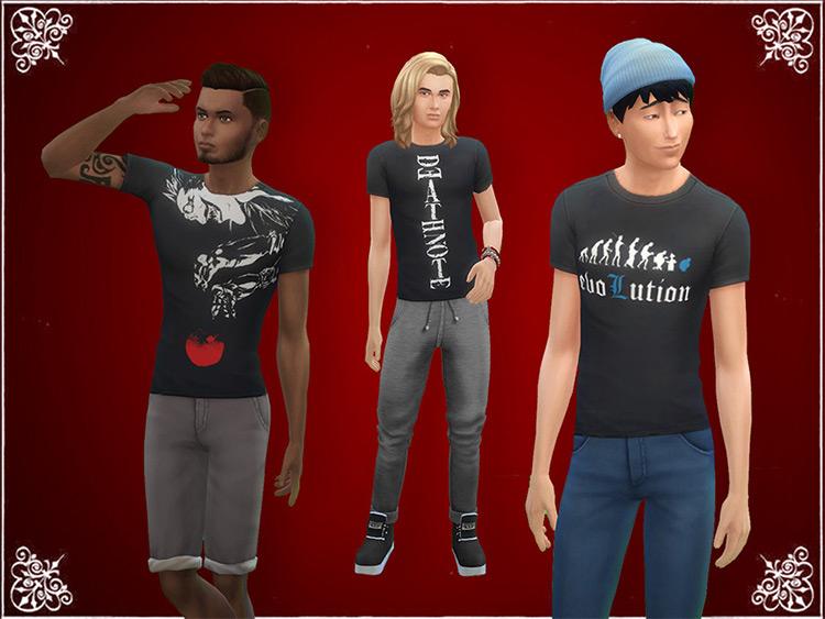 Death Note T-Shirts - Sims 4 CC
