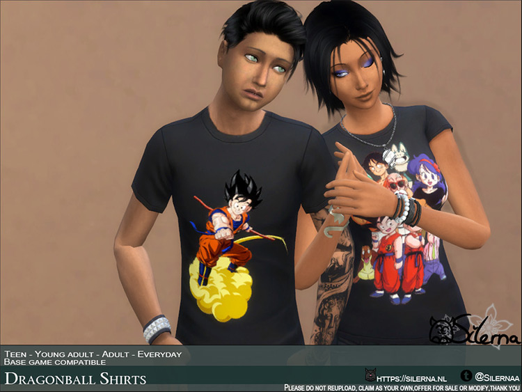 Dragon Ball Z Shirts - Sims 4 CC