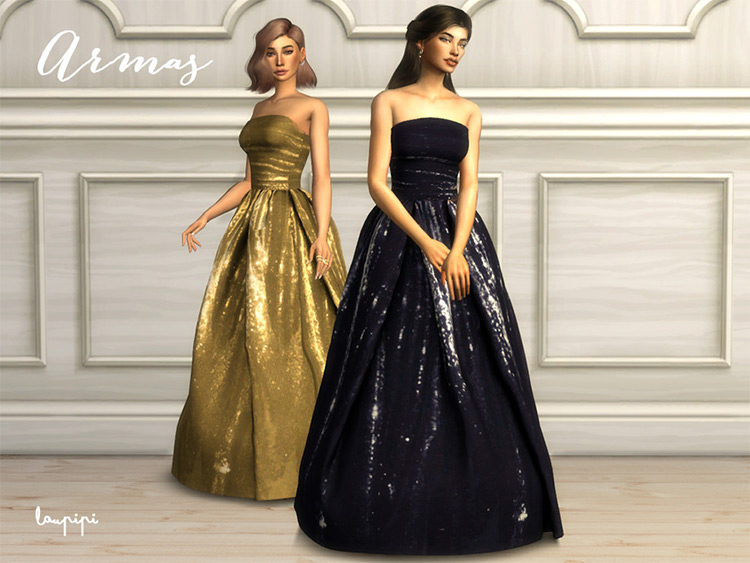 Strapless A-line dress for prom - Sims 4 CC