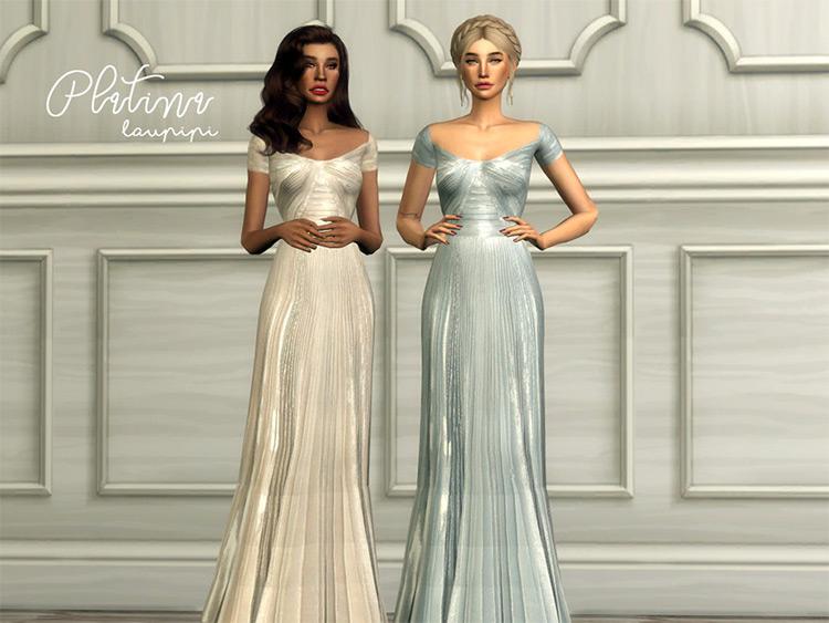 Platina prom sparkly dress - Sims 4 CC