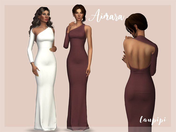 Aimara open back dress for prom - Sims 4 CC