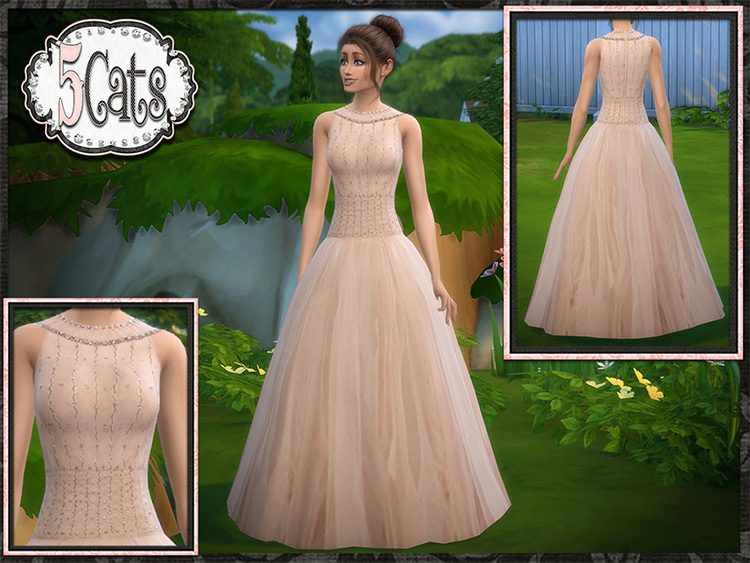 Tulle Illusion Ball Gown for Prom - Sims 4 CC