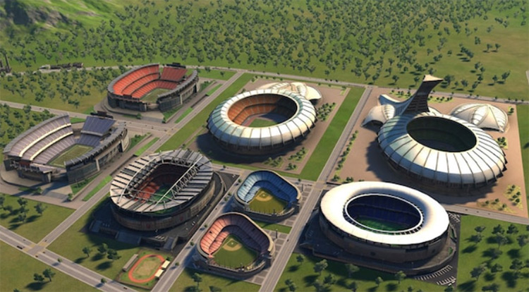 Sporting Stadiums Unlocked - Cities XXL Mod